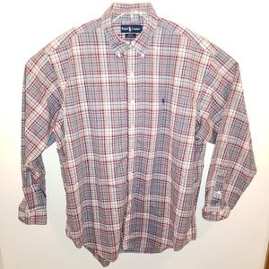 POLO button down Shirt XL Plaid 100% cotton